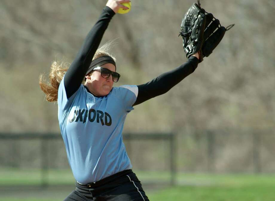 Oxford pitcher Ashley Guillette, #25, during the girls softball game between Oxford High School and Brookfield High School, in Brookfield, Conn, on Wednesday, April 23, 2014. Photo: H John Voorhees III / The News-Times Freelance
