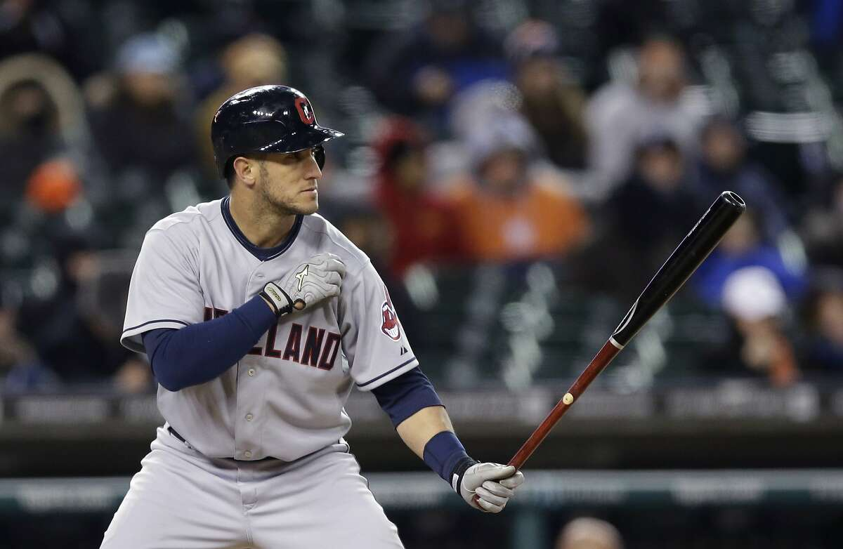 Cleveland Indians' Yan Gomes waits for a pitch during the ninth inning of a baseball game against the Detroit Tigers in Detroit, Wednesday, April 16, 2014. (AP Photo/Carlos Osorio)
