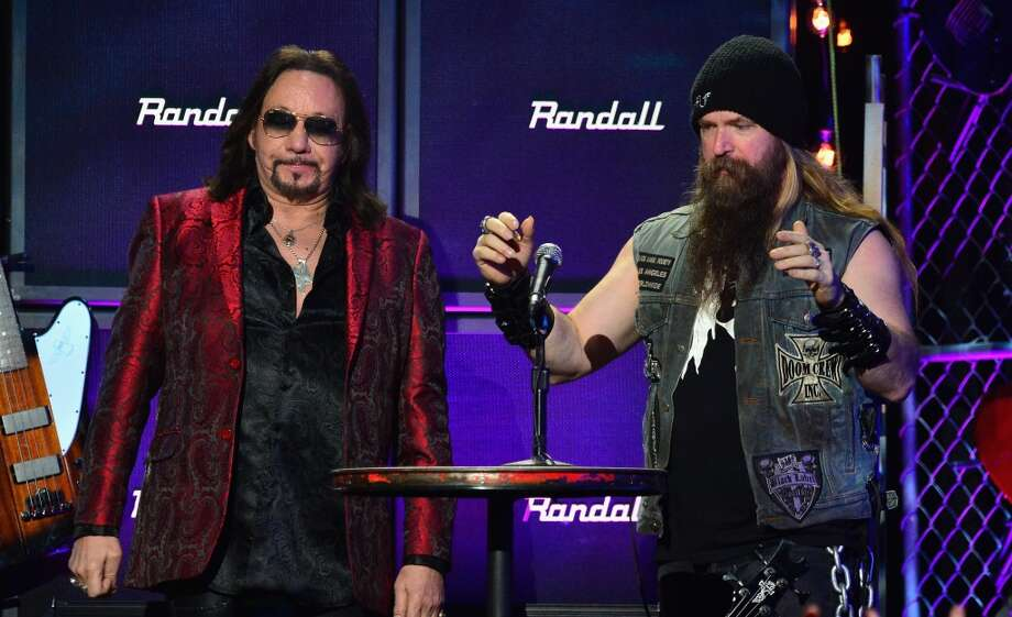 Musicians Ace Frehley and Zakk Wylde (R) speak onstage at the 2014 Revolver Golden Gods Awards at Club Nokia on April 23, 2014 in Los Angeles, California. Photo: Frazer Harrison, Getty Images