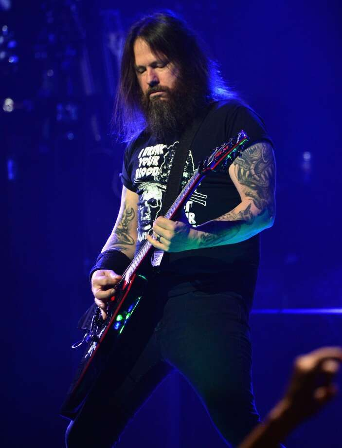 Guitarist Gary Wayne Holt of Slayer performs onstage at the 2014 Revolver Golden Gods Awards at Club Nokia on April 23, 2014 in Los Angeles, California. Photo: Frazer Harrison, Getty Images