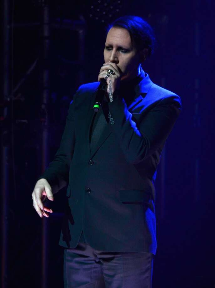 Musician Marilyn Manson speaks onstage at the 2014 Revolver Golden Gods Awards at Club Nokia on April 23, 2014 in Los Angeles, California. Photo: Frazer Harrison, Getty Images