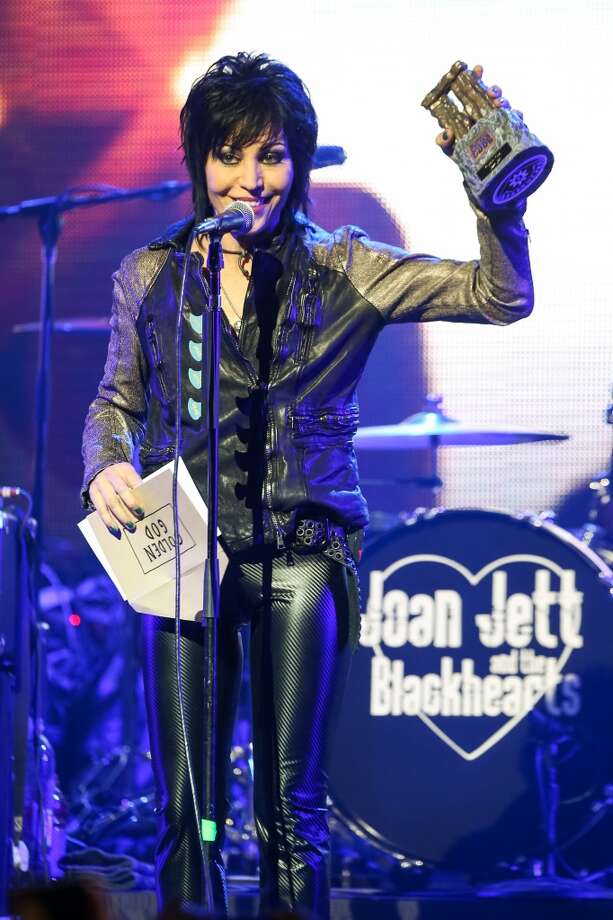 Joan Jett receives the Golden God award at the 6th Annual Revolver Golden Gods Award Show at Club Nokia on April 23, 2014 in Los Angeles, California. Photo: Paul A. Hebert, Associated Press