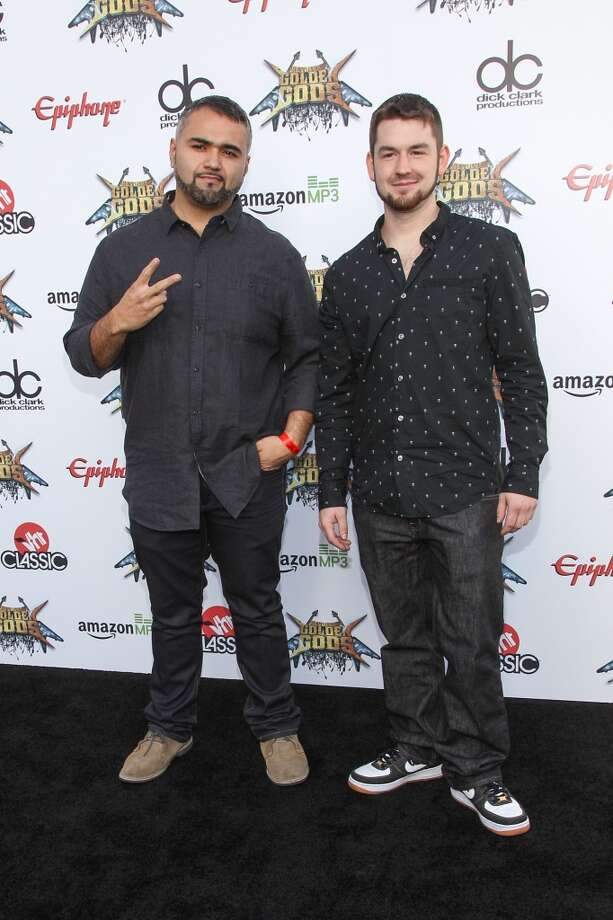 Javier Reyes, left, and Matthew Garska of Animals As Leaders attend the 6th Annual Revolver Golden Gods Award Show at Club Nokia on April 23, 2014 in Los Angeles. Photo: Paul A. Hebert, Associated Press