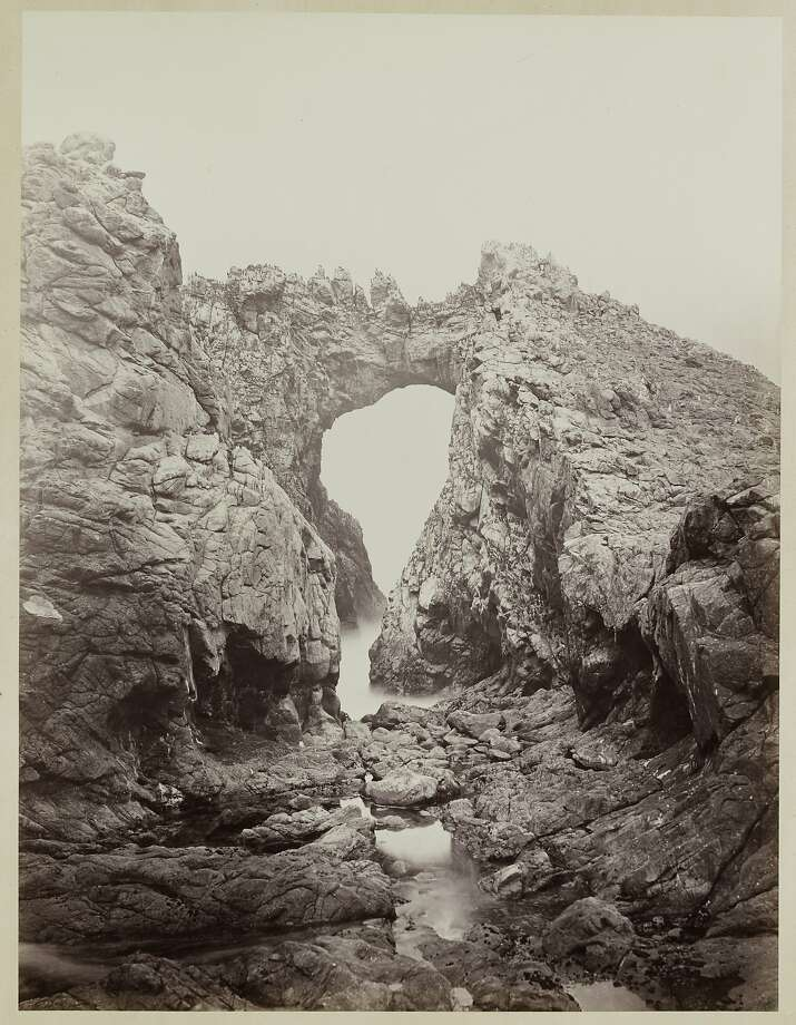"""Arch at the West End, Farallones"" (1868 1869)  Albumen  print by Carleton Watkins,from the album Photographs of the Pacific Coast.  Lent by Department of Special Collections, Stanford University Libraries Photo: Carleton Watkins, Lent By Department Of Special Collections,  Stanford University Libraries"
