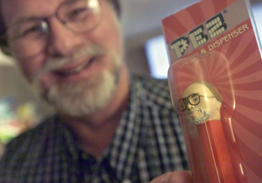 "Stamford_033104_ Red Conroy, a Canadian PEZ collector shows off ""Mini Red,"" a specially-made PEZ dispenser bearing his likeness at the Sheraton Stamford on Thursday. Collectors and vendors from around the country and the world get ready for the 6th Annual Northeast PEZ Collector's Gathering taking place this weekend. Chris Preovolos/Staff Photo Photo: ST"