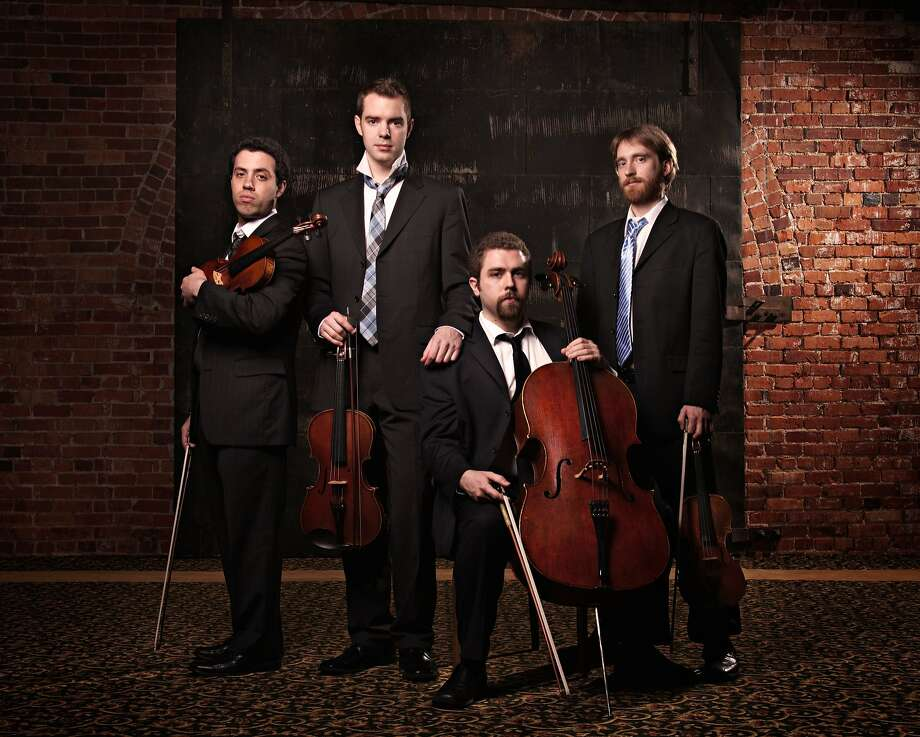 Jack Quartet: Ari Streisfeld (left), John Pickford Richards, Kevin McFarland and Christopher Otto. Photo: Dan Steinberg/LA Opera
