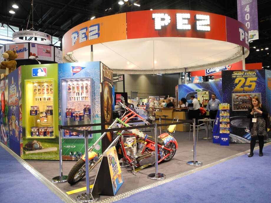 Pez candies and dispensers are displayed at the Sweet and Snack Expo on May 8, 2012 in Chicago, Illinois. A cacophony of colors, flavors and familiar characters along with religious themed confections, filled the show floor as manufacturers competed for crowded shelf space in an ever-growing market.   Sales of chocolate, candy, and gum topped $32 billion in the United States last year, up from $27.4 billion in 2007, according to the National Confectioners Association.  AFP PHOTO / Mira OBERMAN        (Photo credit should read MIRA OBERMAN/AFP/GettyImages) Photo: AFP/Getty Images