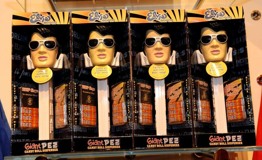 "LAS VEGAS - DECEMBER 16:  Elvis Presley PEZ candy dispensers are displayed at Cirque du Soleil's ""Viva ELVIS"" store during the grand opening gala for the Aria Resort & Casino at CityCenter December 16, 2009 in Las Vegas, Nevada. The 67-acre, USD 8.5 billion mixed-use urban development center, a joint project between MGM Mirage and Dubai World, is said to be the biggest privately financed construction project in United States history and one of the world's largest green projects being built with the Leadership in Energy & Environmental Design (LEED) Gold certified Green Building Rating System. Aria is CityCenter's centerpiece and includes a 150,000-square-foot casino and 4,004 hotel rooms and suites.  (Photo by Ethan Miller/Getty Images for CityCenter)"