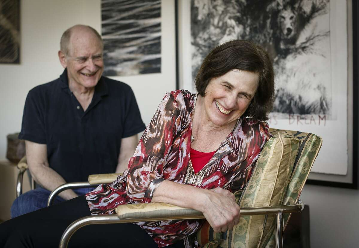 Paula Wolfert and her husband, Bill Bayer, share a laugh in their Sonoma, Calif., home on Thursday, April 17, 2014.