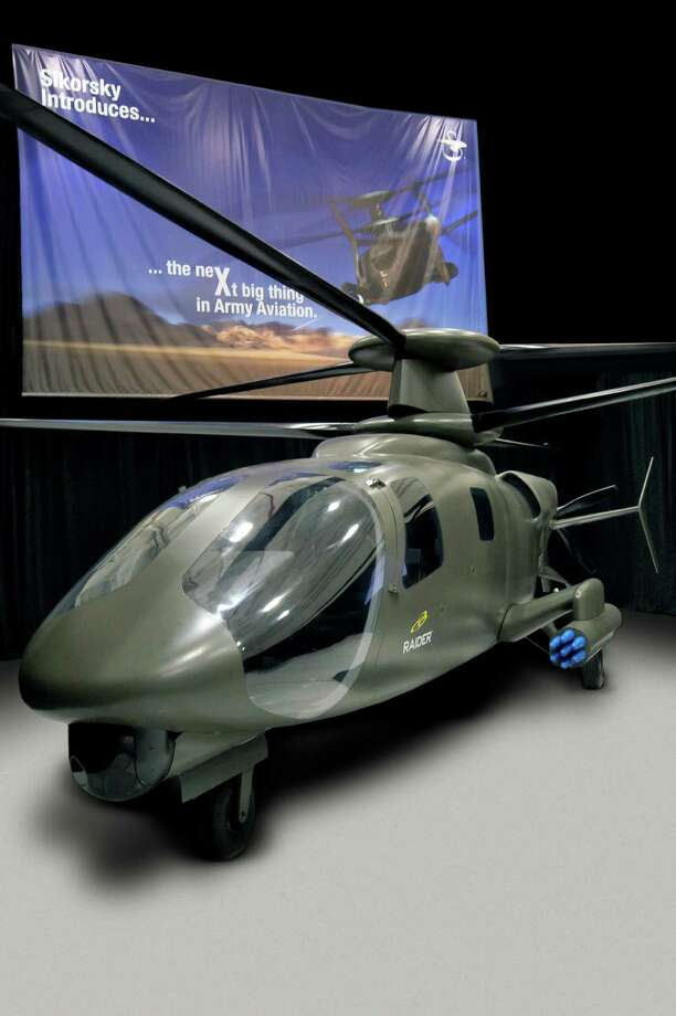 A mock up of what Sikorsky Aircraft expects its S-97 Raider to look like. It is the new hybrid helicopter, the company is building after successful tests of an experimental aircraft that uses similar technology, the X2. Photo: Steven Kaeter, ST / Connecticut Post Contributed