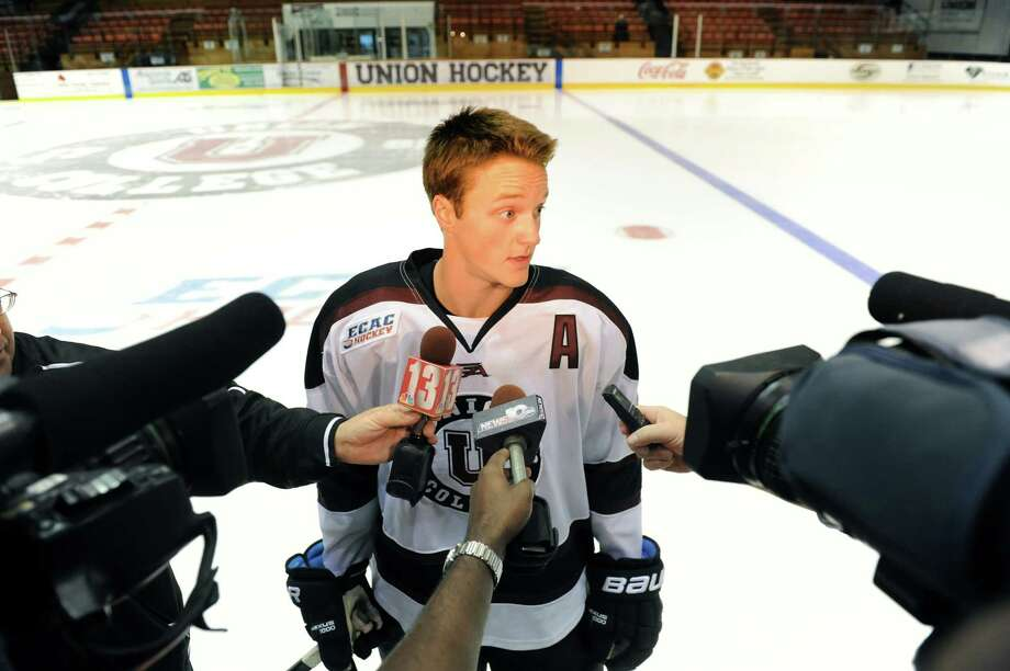 Union's Daniel Carr talks with the media during Union hockey media day on Thursday, Oct. 3, 2013, at Union College in Schenectady, N.Y. (Cindy Schultz / Times Union) Photo: Cindy Schultz / 00024074A