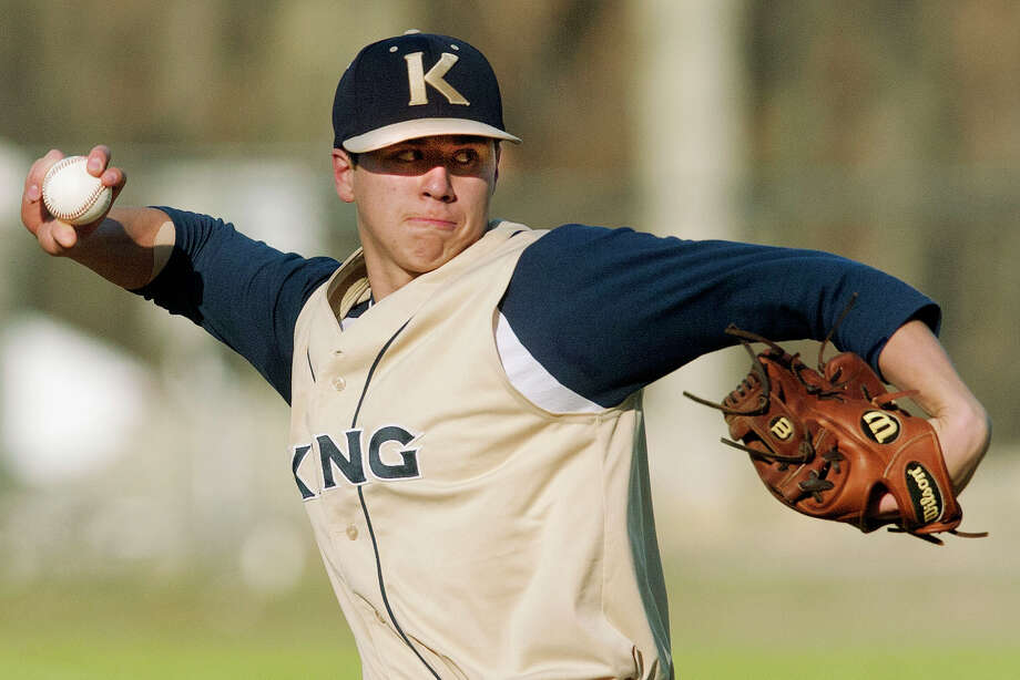 Dan Romanello was King School's starting pitcher during the Vikings' game against St. Luke's School at St. Luke's School in New Canaan, Conn., on Thursday, April 24, 2014. King School won, 13-0, in 5 innings. Photo: Jason Rearick / Stamford Advocate