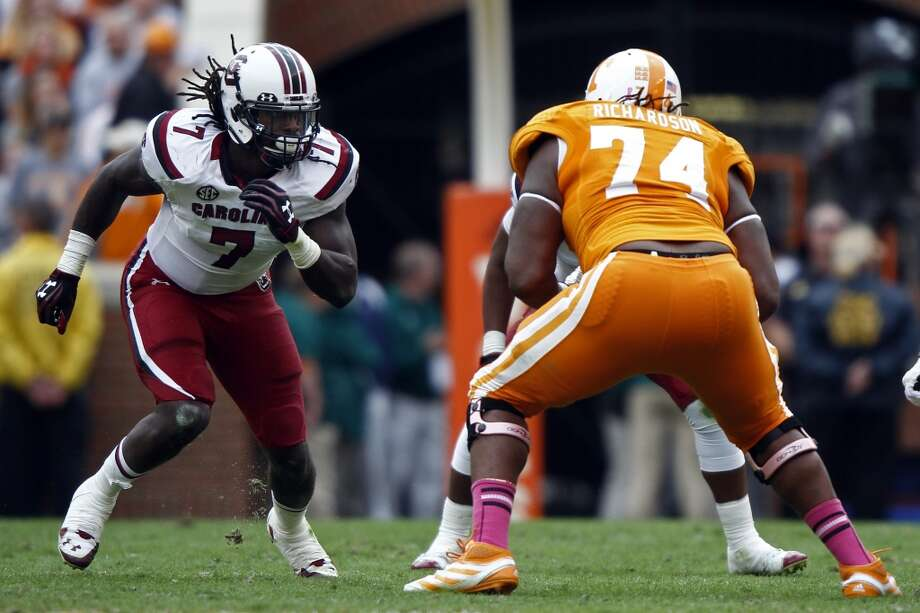 Notable  Antonio Richardson's nickname is Tiny because of his size. In 2012, he had an outstanding game against South Carolina defensive end Jadeveon Clowney. Last season, Clowney dominated Richardson, who's stock has fallen. Photo: Wade Payne, ASSOCIATED PRESS