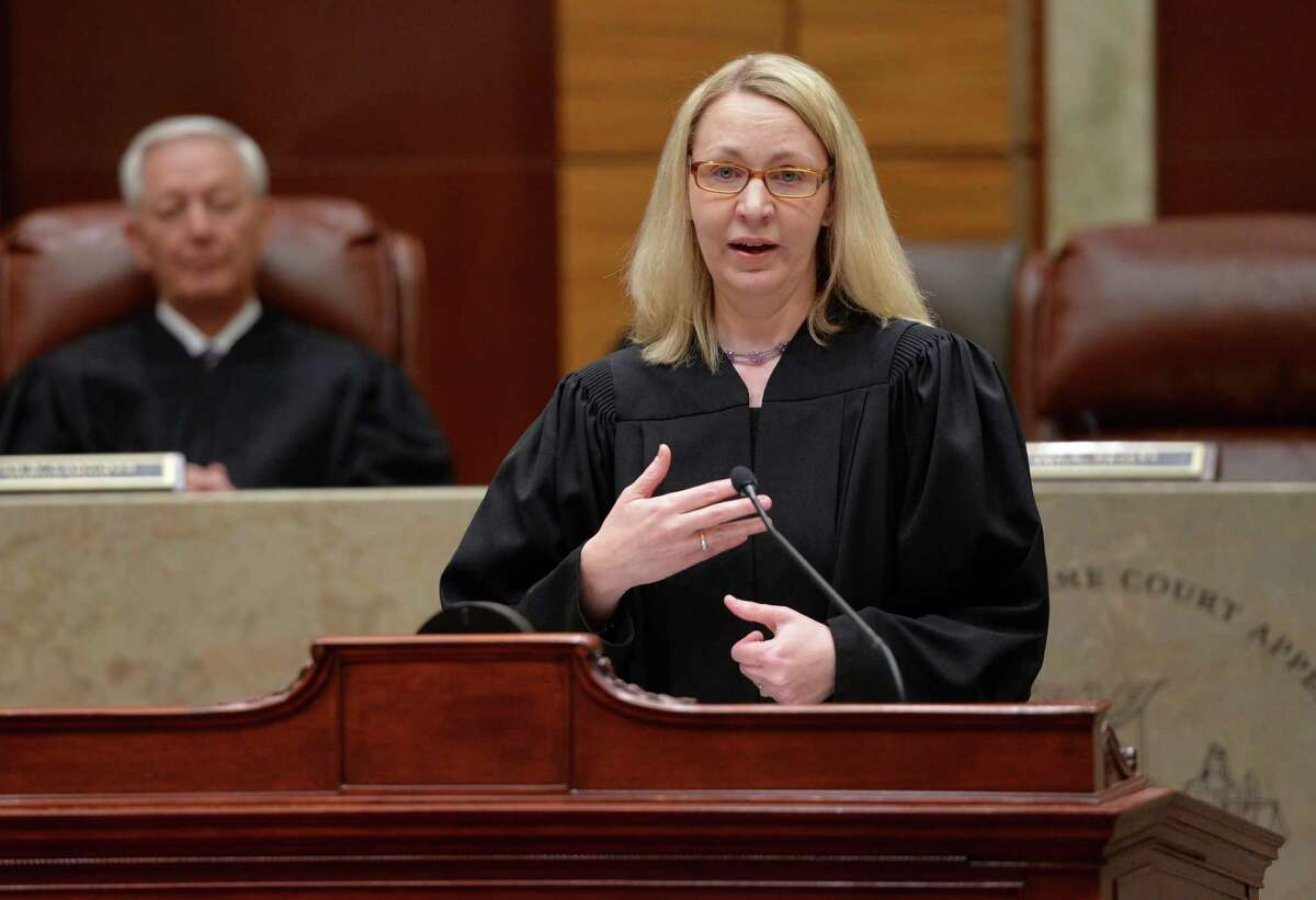 Judge Christine Clark, seen speaking to the assembly after being sworn in as one of the three new members of the Appellate on April 24, 2014 in Albany, N.Y., is among the judges who ruled unanimously on a case reversing the legal annulment of a Cortland County, N.Y. man.(Skip Dickstein / Times Union)