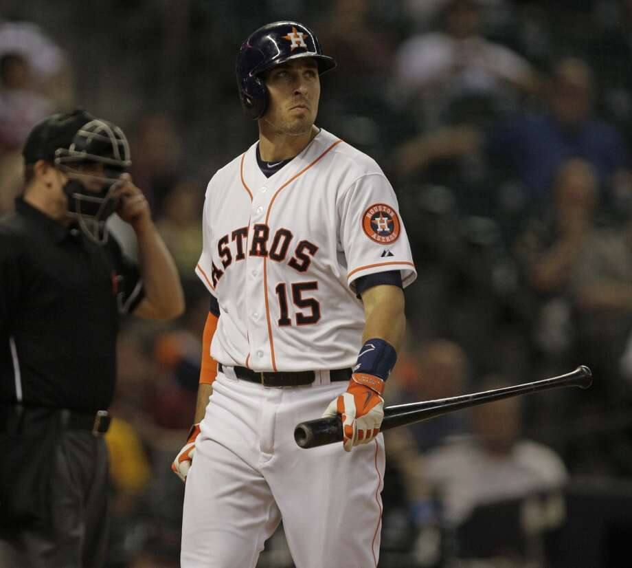 Jason Castro reacts after striking out. Photo: Melissa Phillip, Houston Chronicle