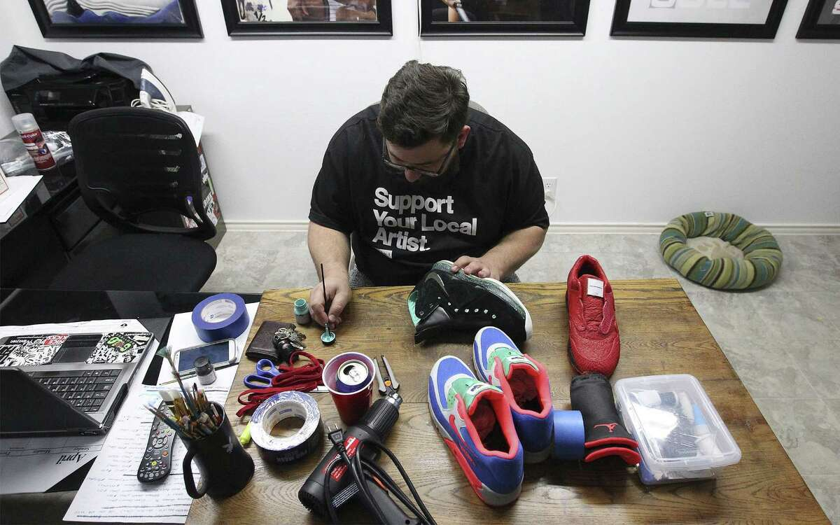 Jake Danklefs, 29, started customizing shoes in the sixth grade, and now it is a full-time job. He counts pro athletes, Olympians and rappers among his customers. Danklefs will work on about seven pairs of shoes at a time, with most projects taking between six to 10 hours.
