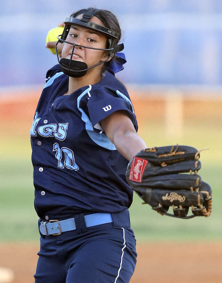 Only a two-out walk issued in the fourth inning prevented Johnson freshman pitcher Caitlyn Colquhoun from recording a perfect game in the Jaguars' playoff win over Smithson Valley. Photo: Tom Reel / San Antonio Express-News