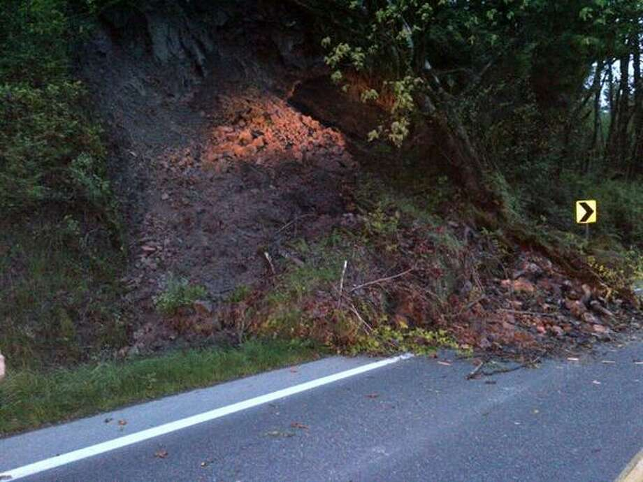 The landslide spilled across the highway. Washington State Patrol photo.
