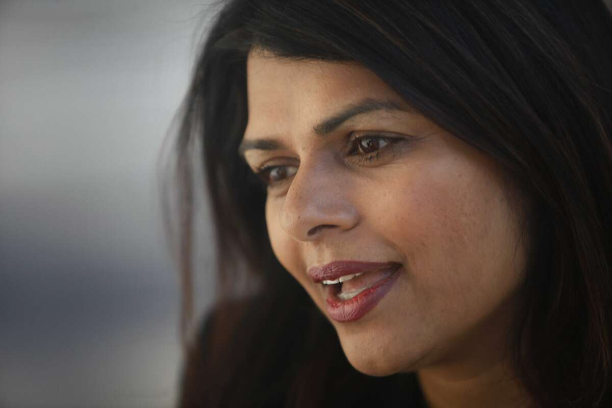 Vanila Singh is seen on Thursday, January 23, 2014 in Fremont, Calif. as she is interviewed by a reporter. Vanila Singh is running for Congress in California's 17th Congressional district.