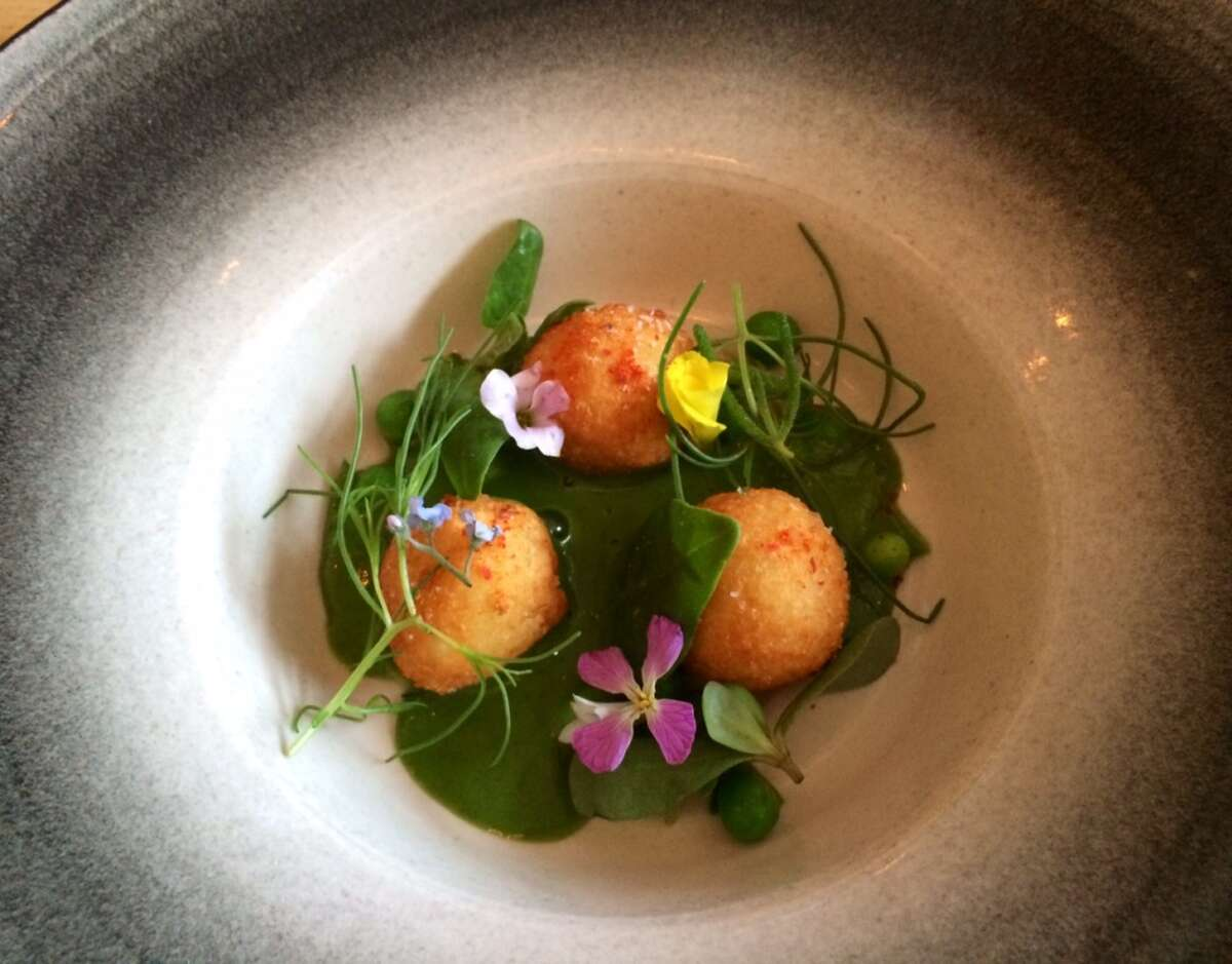 Commonwealth: Brandade with coastal succulents, wild flowers and chilled pea soup
