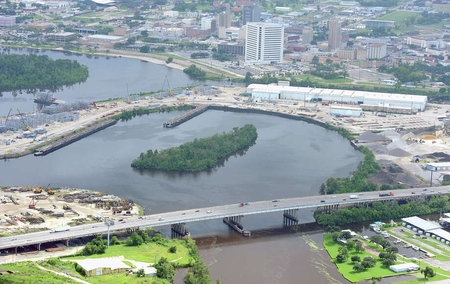 Purple Heart Bridge with Downtown Beaumont above.