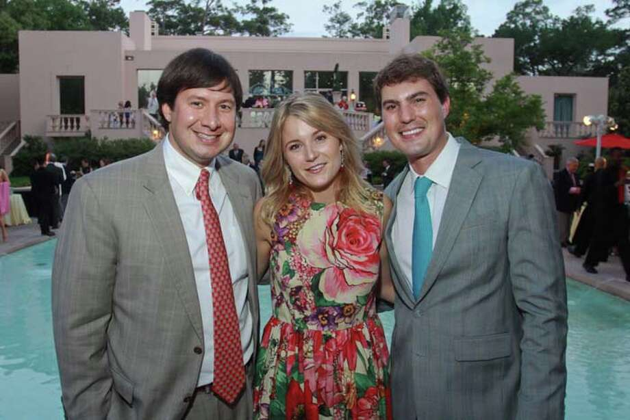 Matt LeBlanc, left, with Lucy and Hayden Rieveschl at the 2014 Rienzi Spring Party. Photo: Gary Fountain, For The Chronicle / Copyright 2014 by Gary Fountain