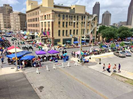 View from the San Antonio Express-News at Alamo and Third before the Battle of Flowers parade on Friday, April 25, 2014. Photo: Kolten Parker, San Antonio Express-News