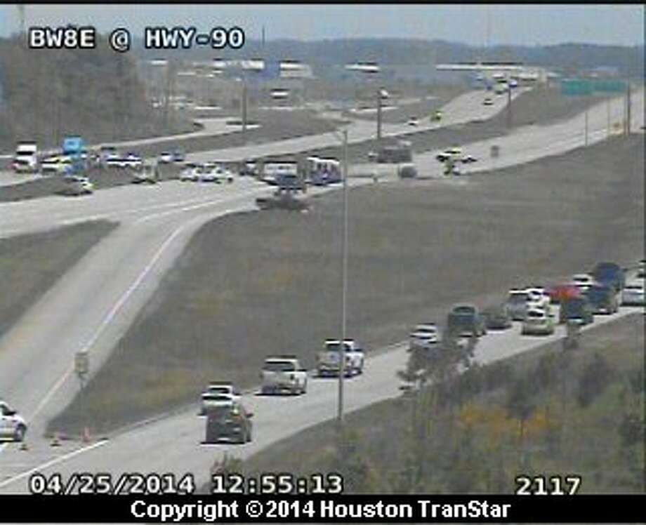 A fatal traffic crash about noon Friday shutdown portions of U.S. 90 in east Harris County. Photo: Houston TranStar