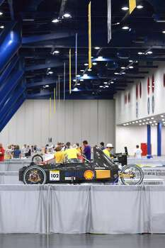 The hydrogen-powered Archetype #102 Prototype, competing for the University of Colorado team from Denver, is displayed at the Shell Eco-marathon in downtown Houston in April 2014. Photo: Jack Thompson, Associated Press