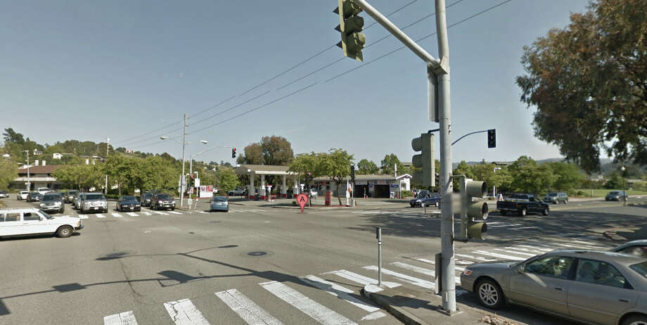 The intersection of E Blithedale Ave & Camino Alto in Mill Valley.  Jeffrey Smock, 40, of Kentfield is accused of getting off his bicycle on the busy Mill Valley street and 