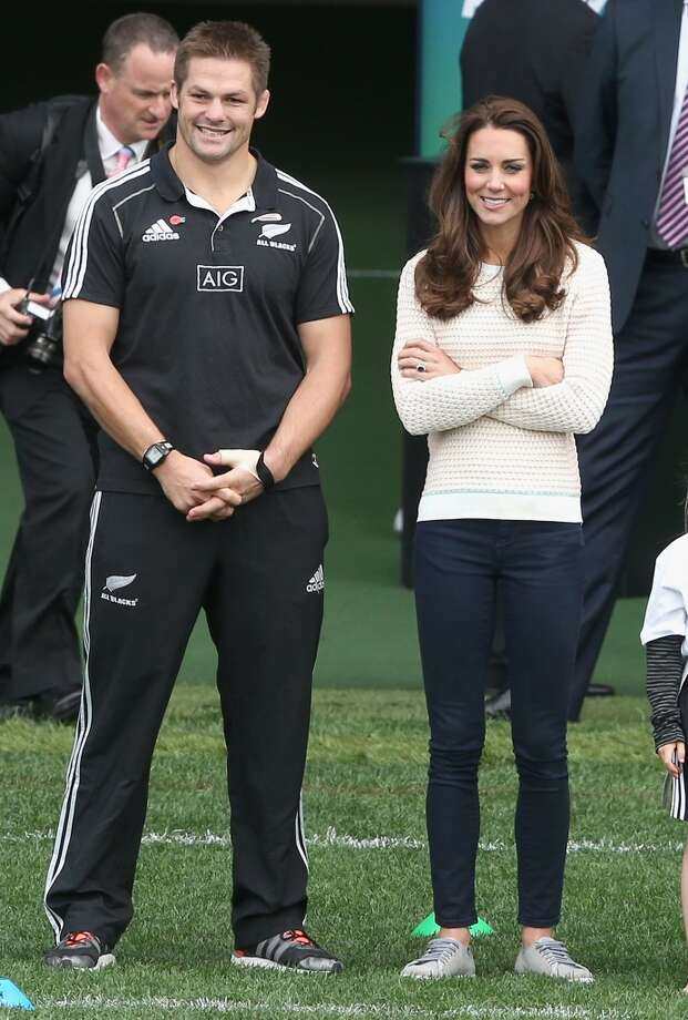 Kate can do casual, too! The Duchess and All Black player Ritchie McCaw watch 'Rippa Rugby' in the Forstyth Barr Stadium on April 13, 2014 in Dunedin, New Zealand. Photo: Chris Jackson, Getty Images