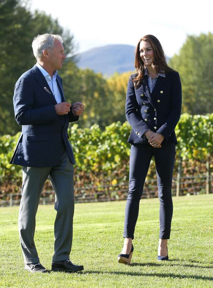 Catherine, Duchess of Cambridge visits the Amisfield Winery wearing a  wedge/blazer combo  on April 13, 2014 in Queenstown New Zealand. Photo: Pool, Getty Images