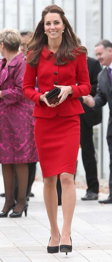 Bright red again -- this time in skirt suit form -- for a trip to the Botanical Gardens on April 14, 2014 in Christchurch, New Zealand. Photo: Chris Jackson, Getty Images