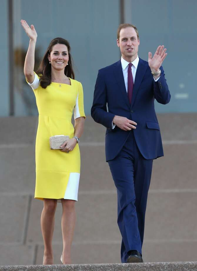 Kate, with Prince William, greets the crowd outside Sydney Opera House on April 16, 2014 looking lovely in a yellow and white colorblocked dress. Photo: Chris Jackson, Getty Images