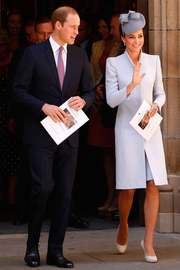 Structure makes the the Duchess' muted pastel jacket and  hat stand out at St Andrew's Cathedral following a Easter Sunday Service on April 20, 2014 in Sydney, Australia Photo: Brendon Thorne, Getty Images