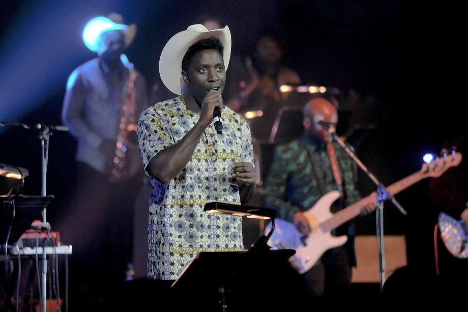 Kele Okereke of Bloc Party performs with the William Onyeabor tribute supergroup in London. Photo: Keith Sheriff
