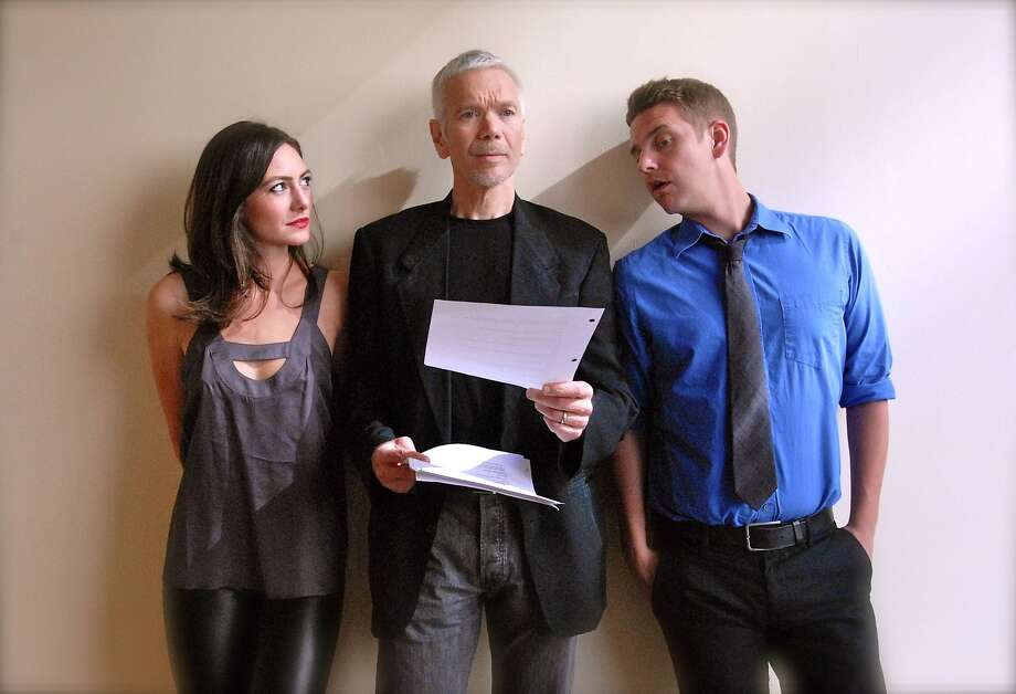 "From left, Natalie Mitchell (who plays Izzy), Charles Shaw Robinson (Leonard) and Patrick Russell (Douglas) are aspiring novelists in ""Seminar."" Photo: Lauren English"