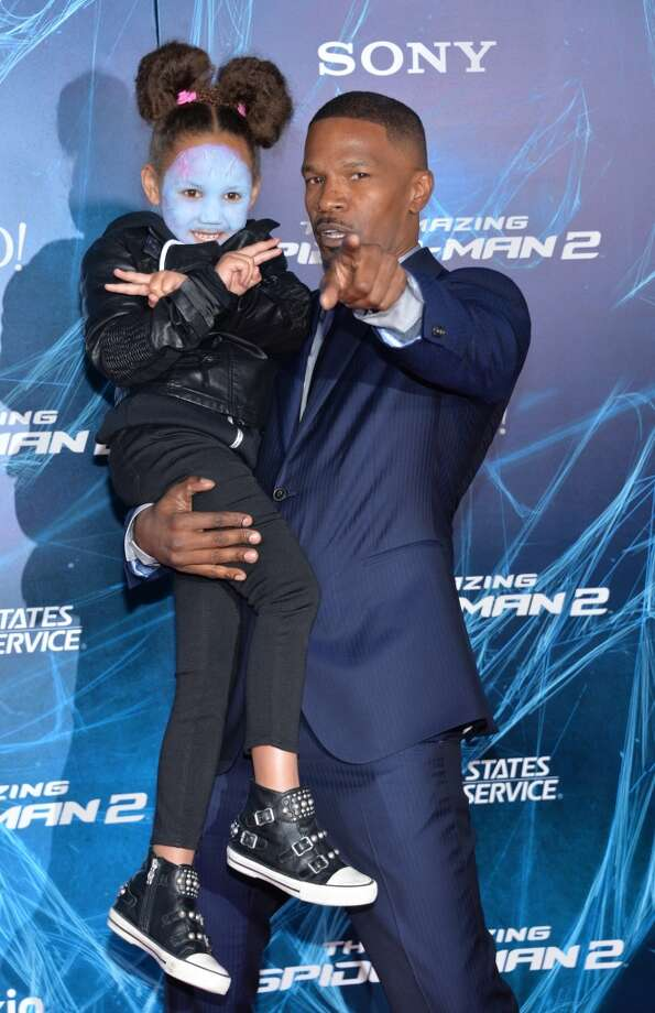 """Jamie Foxx, right, and Annalise Bishop arrive at the NY Premiere of """"The Amazing Spider-Man 2,""""  on Thursday, April 24, 2014, in New York. Photo: Evan Agostini, Associated Press"""