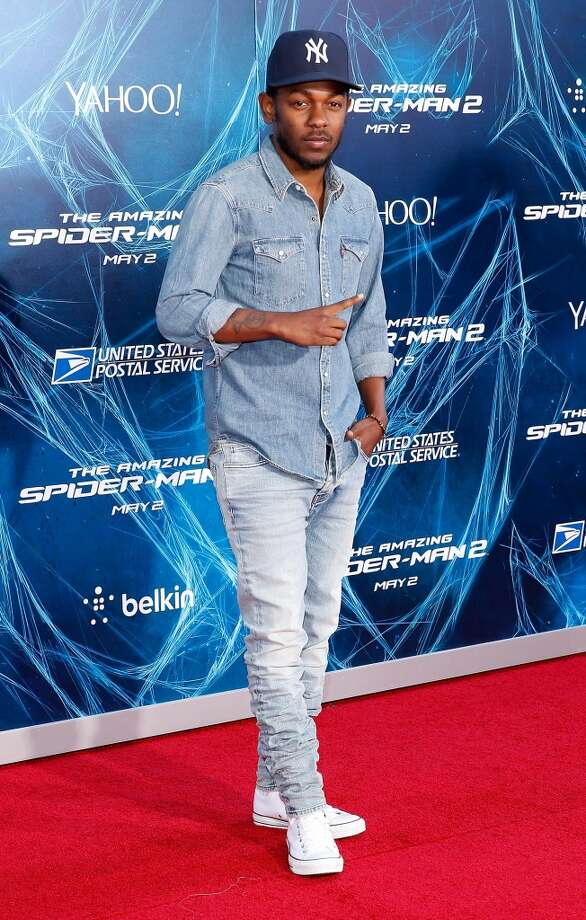 "Rapper Kendrick Lamar attends ""The Amazing Spider-Man 2"" premiere at the Ziegfeld Theater on April 24, 2014 in New York City. Photo: Jemal Countess, Getty Images"