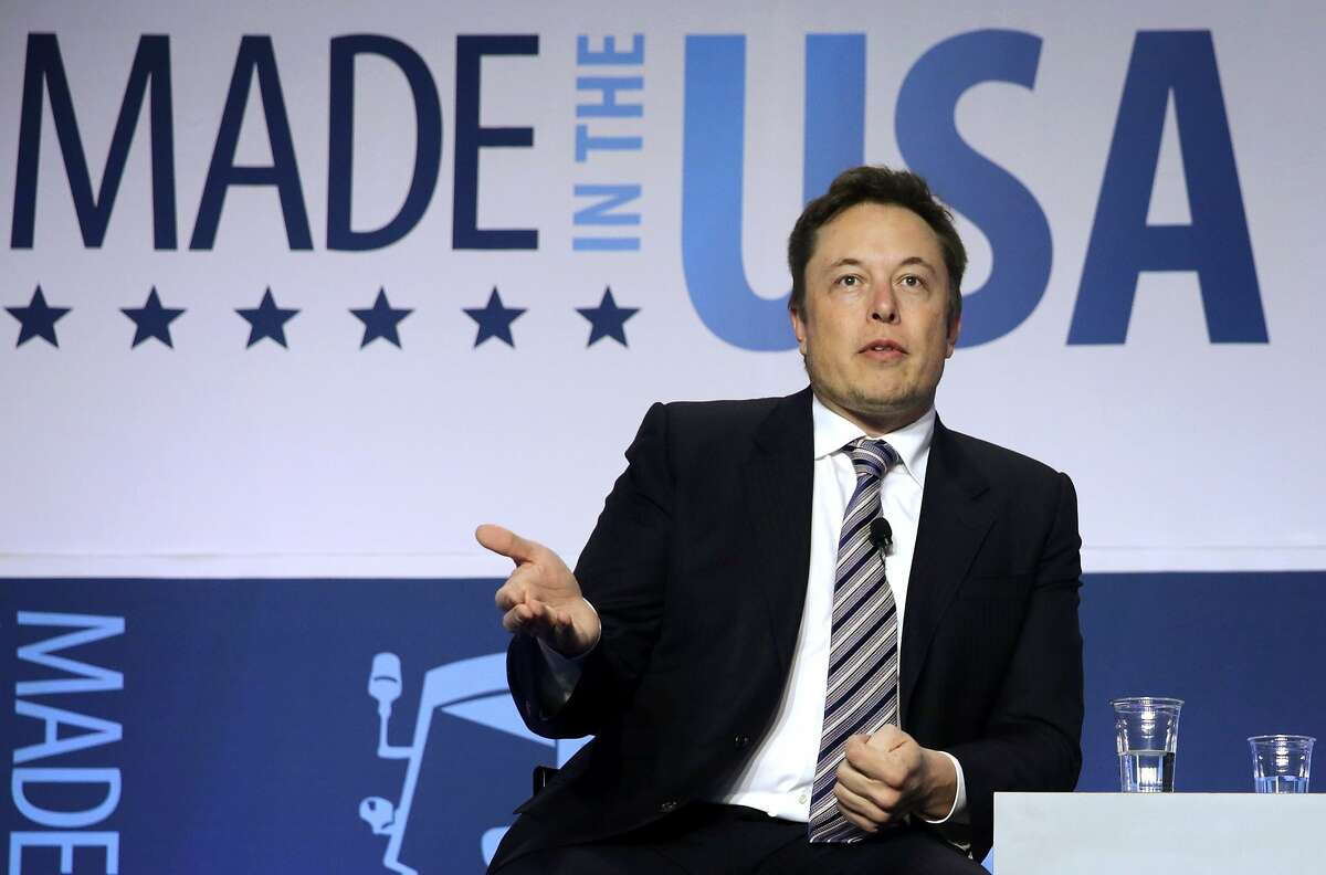 CEO and chief designer of SpaceX Elon Musk participates in a discussion during the 2014 annual conference of the Export-Import Bank (EXIM) April 25, 2014 in Washington, DC. Musk announced in another event today that SpaceX will file a lawsuit against the U.S. Air Force on shutting out private companies for launching national security related rockets. The two-day event focused on global business environment and prospects for growth. (Photo by Alex Wong/Getty Images)
