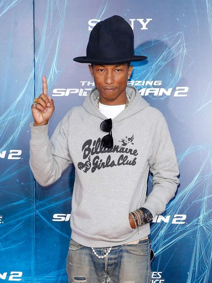 "Musician Pharrell Williams attends ""The Amazing Spider-Man 2"" premiere at the Ziegfeld Theater on April 24, 2014 in New York City. Photo: Jemal Countess, Getty Images"