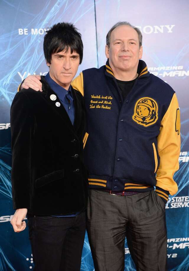 "Musician Johnny Marr (L) and Composer Hans Zimmer attend ""The Amazing Spider-Man 2"" premiere at the Ziegfeld Theater on April 24, 2014 in New York City. Photo: Jamie McCarthy, Getty Images"