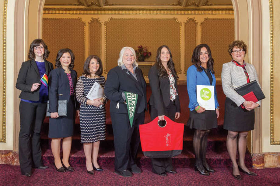 The 2014 Women of Excellence honorees. From left: Curran Streett, Dr. Meng-Ling Hsiao, Carol Nieckarz, Dr. Linda Richardson, Ashley Jeffrey,  Renee Abdou-Malta and Amy Johnson. Photo: Vincent Giordano, Women@Work / 2014