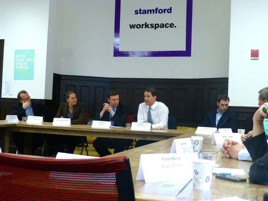U.S. Senator Chris Murphy, D-Conn., and U.S. Rep. Jim Himes, D-Conn., spoke with a group of entrepreneurs and investors about federal investment tax credits at the Stamford Innovation Center on Friday. Photo: Contributed Photo / Stamford Advocate Contributed