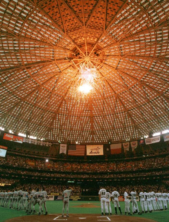 Fireworks over pregame introductions before an opening game against the Chicago Cubs at the Astrodome, April 6, 1999. We all know what's become of the Astrodome. Photo: KERWIN PLEVKA, Houston Chronicle
