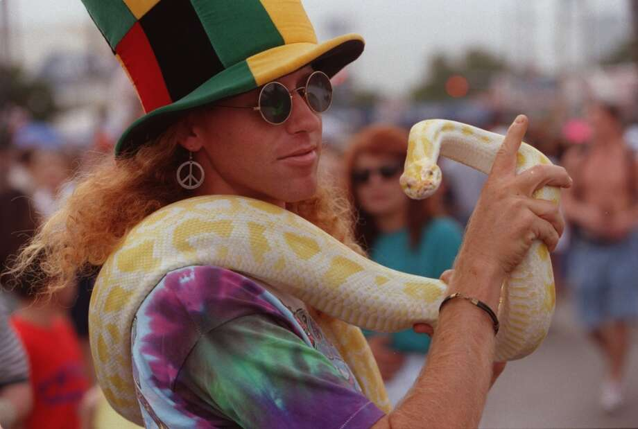 Woody Johnson brought his 4-year-old albino python to the Westheimer Street Festival in October 1999 to take part in the eclectic blend of the sights and sounds of the celebration. Photo: Andrew Innerarity, Houston Chronicle