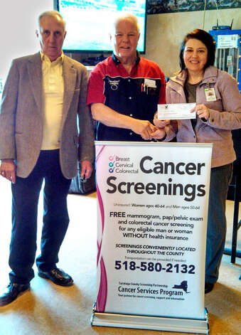 The Fraternal Order of Eagles #2586 recently donated $2,000 to the Cancer Services Program of Saratoga County in support of outreach for cancer screenings. Recognizing the effort are, from left, Donald Yanchunis Sr., secretary; David Tice, International President of the New York order; and Jill Strock, program coordinator of the Cancer Services Program. (Submitted photo)