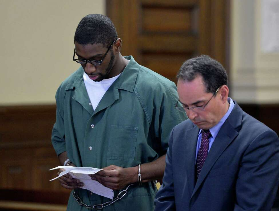 Defendant Ariel Myers reads his statement proclaiming his innocence Friday Morning April 25, 2014, during sentencing at Rensselaer County Court in Troy, N.Y. (Skip Dickstein / Times Union)