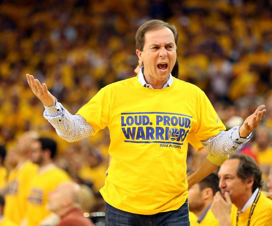 Apr 24, 2014; Oakland, CA, USA; Golden State Warriors owner Joe Lacob reacts after a call against the Los Angeles Clippers during the fourth quarter of game three of the first round of the 2014 NBA Playoffs at Oracle Arena. The Los Angeles Clippers defeated the Golden State Warriors 98-96. Mandatory Credit: Kelley L Cox-USA TODAY Sports Photo: Kelley L Cox, Reuters