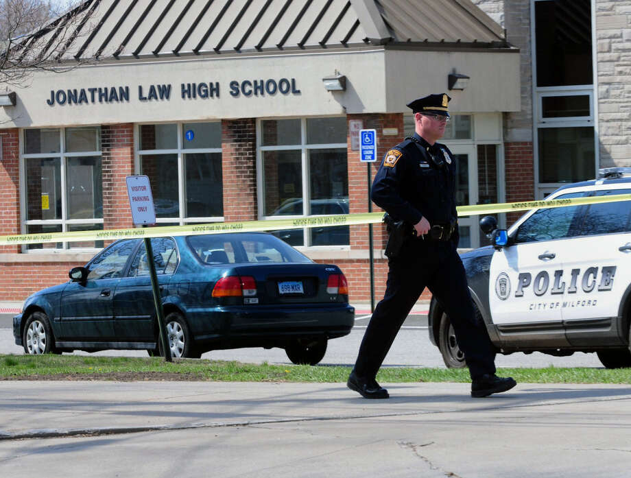Police are looking at surveillance camera footage from Jonathan Law High School in Milford, Conn., for evidence on the fatal stabbing of junior Maren Sanchez. A boy was arrested. Photo: Peter Hvizdak / New Haven Register / New Haven Register